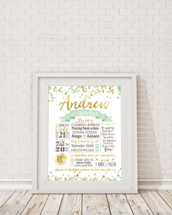 First Birthday Milestone Poster - Mint and Gold Confetti Birthday, Milestone…