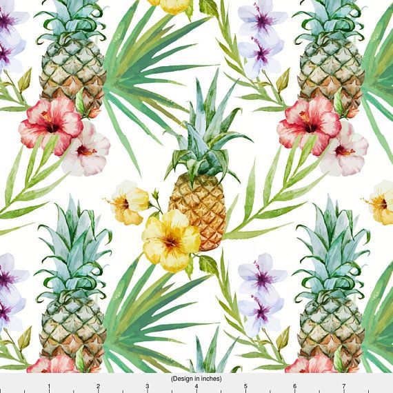 Pineapple Fabric  Topical Watercolor Hibiscus Flowers