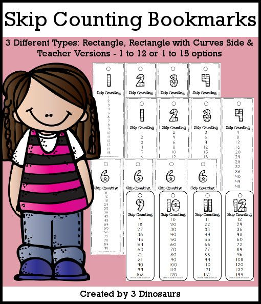 Skip Counting Bookmarks Selling Set - 2 different options 1 to 12 or 1 to 15 - with teacher print and easy to cut out bookmarks $2 - 3Dinosaurs.com
