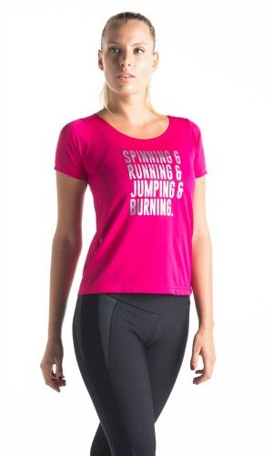 "BrasilSul pink t-shirt in hot pink with silver writing with quote ""Running & Jumping & Burning"" Stylish yet versatile for all kinds of exercise. One size NZ$69 http://www.divineyou.co.nz/product/brasilsul-pink-t-shirt/"