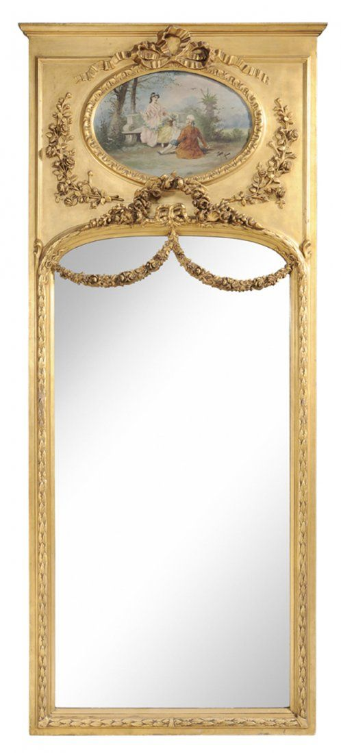 """Giltwood Rectangular Trumeau    French, 19th century, Louis XVI style of rectangular form with oil on panel depicting two lovers in a garden landscape signed """"Fongi""""(?), raised over the arched beveled glass plate with floral and vine draped devices, carved foliated molding surround"""