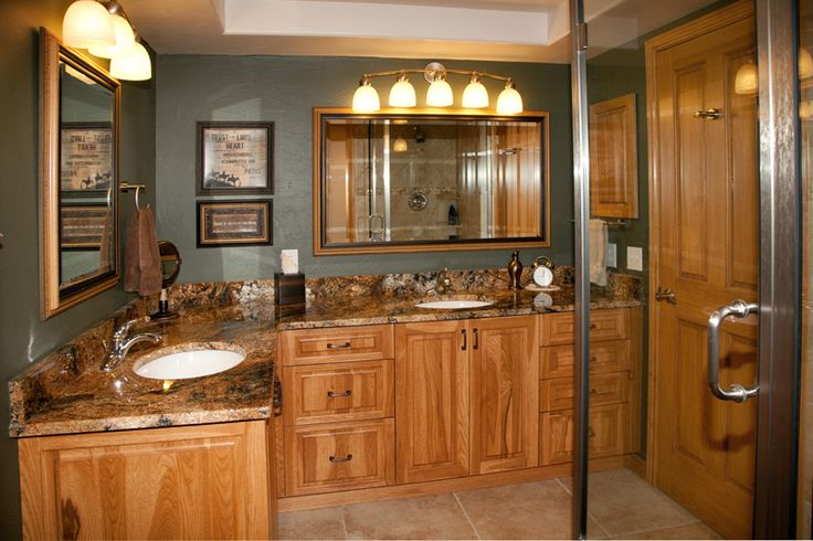 Bath Remodel With Hickory Cabinets And Granite Tops Bathroom Remodel Ideas Pinterest