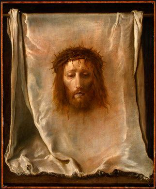 According to the legend, Veronica was a pious woman from Jerusalem who encountered Christ on His way to Calvary. Deeply moved by His suffering, looking into His face pouring with sweat and blood, she wiped it with her veil - and found His portrait imprinted on the cloth when she got it back. The white veil measures about 6.5 by 9.5 inches and bears dark red features of a bearded man with long hair and open eyes. The face on the veil is that of a young man who has suffered greatly.