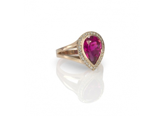 Pink Tourmaline & Diamond Ring: Tourmaline Ring