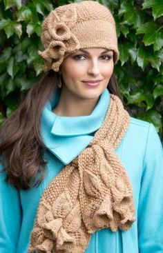 I really like this!  Free pattern on Red Heart site.  Flower Hat & Scarf