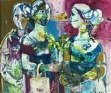 Ruth+Schloss+-+3+Women,+Oil+on+canvas
