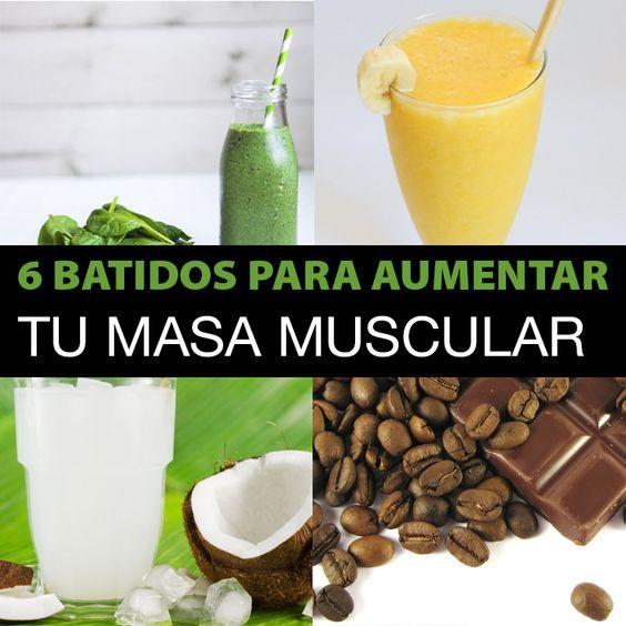 No todos los batidos son creados iguales, a veces ocupas solo un poco de inspiración. Aquí estan 6 deliciosos batidos llenos de proteína para aumentar tu masa muscular (Se pueden tomar antes o después del entrenamiento):  Receta 1 Ingredientes: 1 cucharada de chocolate en polvo. 1 cucharada de semillas de chía. 1 puñado de espinacas. 1/2 taza de claras de huevo. 3 cubitos de hielo de café. 1/2 taza de agua. Coloca todos los ingredientes en una licuadora, agrega una taza de hielo (o...