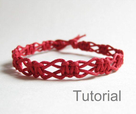 Macramé débutants noué bracelet pdf tutoriel par Knotonlyknots