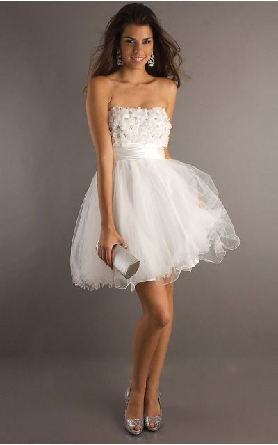 None Short A-line Natural Strapless Formal Dresses mdea7300