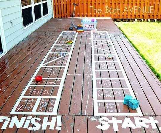 Tape can also be used to create a fun outdoor board game.   33 Activities Under $10 That Will Keep Your Kids Busy All Summer