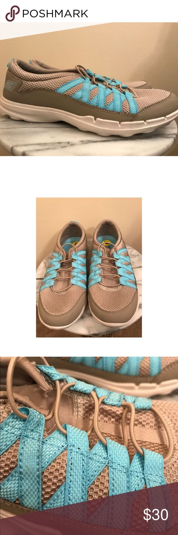 Skechers On The Go athletic shoe 9 Almost new grey and turquoise Skechers In The Go lightweight athletic shoe size 9. Skechers Shoes Sneakers