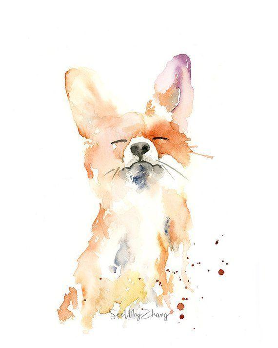 Stolzer Fox-Aquarell-Kunst-Druck – moderne Kunst des wilden Tieres, Aquarellkunst für Fuchsliebhaber, spielerische Fuchsaquarellmalerei   – Marbles