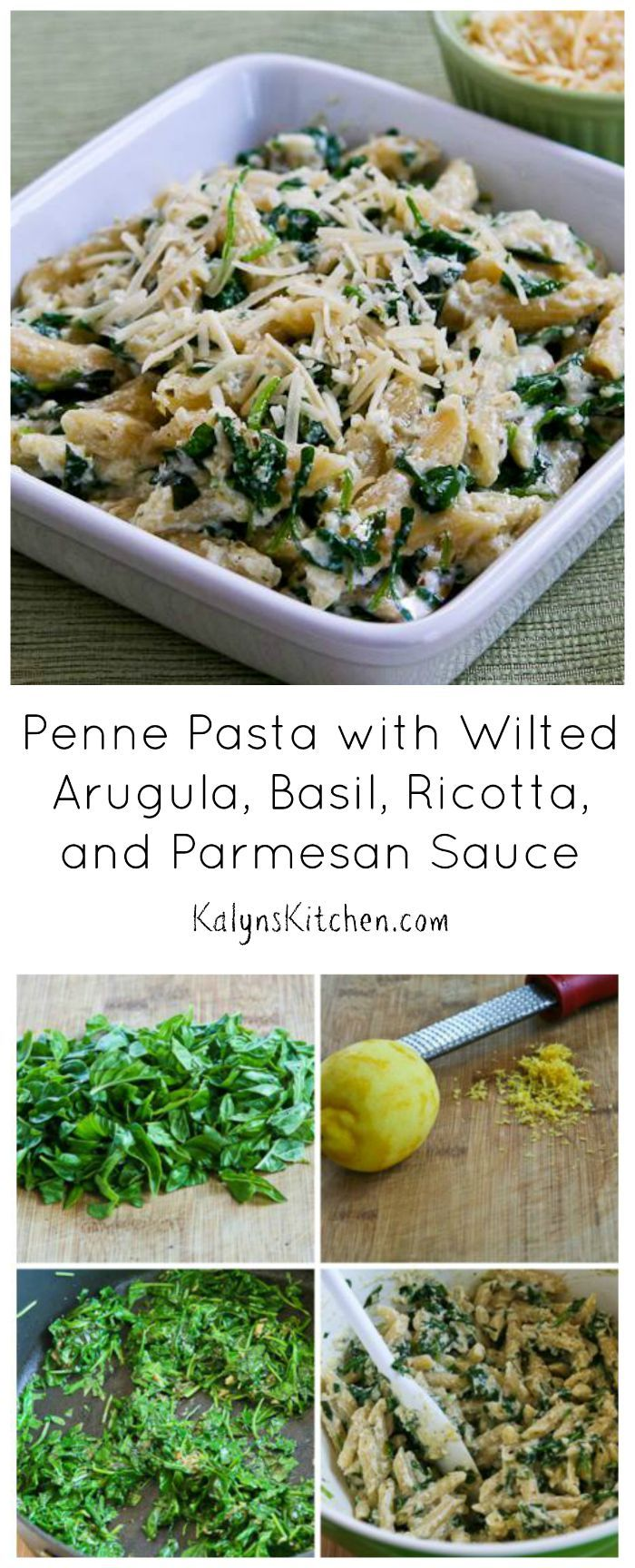 This easy Penne Pasta with Wilted Arugula, Basil, Ricotta, and Parmesan Sauce is a great way to use fresh basil, but you can make the sauce with pesto too. For a lower-carb version use more greens and less pasta. [from KalynsKitchen.com]