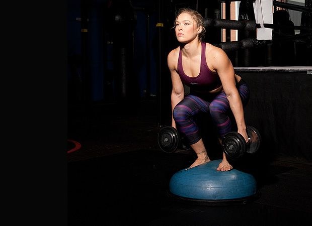 BOSU-ball Squat-and-Press with Ronda Rousey