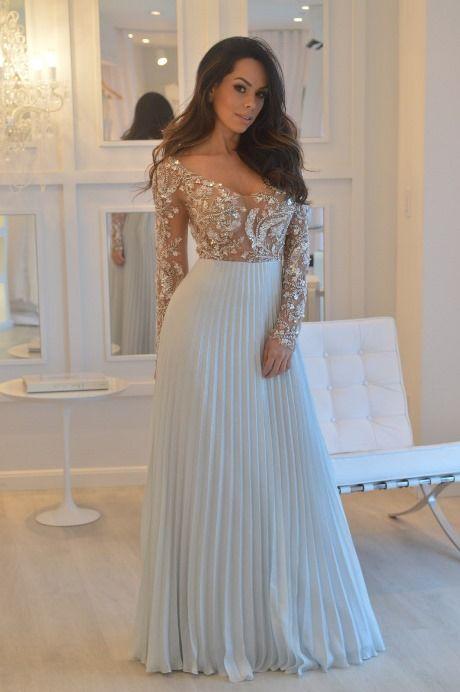 vestido de festa plissado