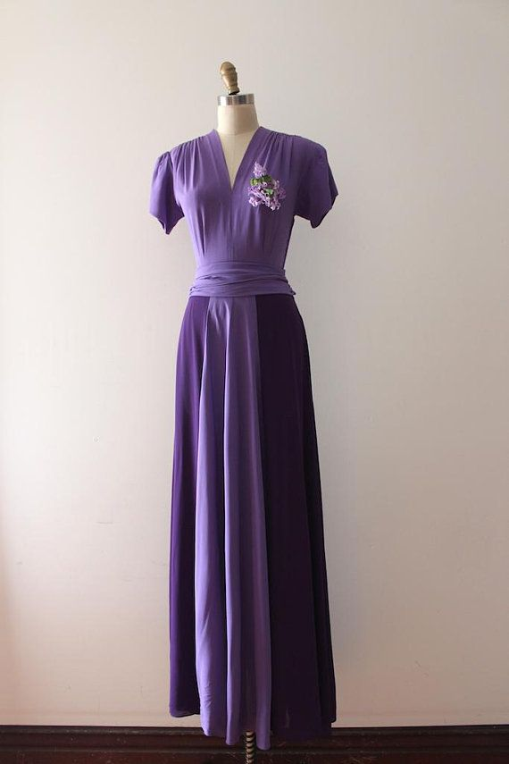 Vintage 1930s evening gown // 30s two tone purple rayon maxi dress ...