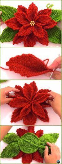 Crochet 3D Poinsettia Flower Free Pattern Video - Crochet Poinsettia Christmas Flower Free Patterns