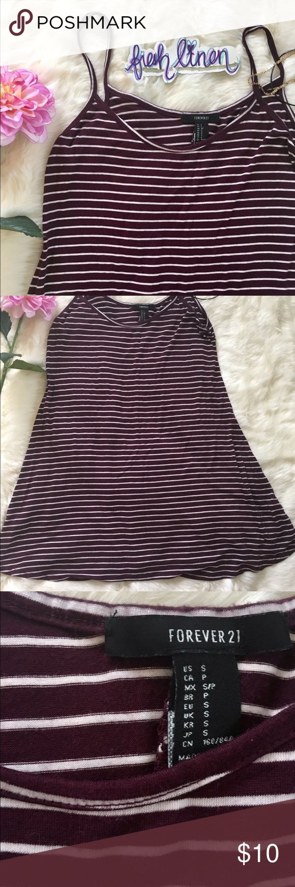 F21 Striped Tank Mini Dress FOREVER 21 Striped Tank Mini Dress. Size Small. Made in Guatemala. 73% Rayon. 24% Polyester. 3% Spandex. Plum and White stripes. Cute for the Summer or with leggings/tights and boots for the cold weather! Excellent used condition.. Forever 21 Dresses Mini