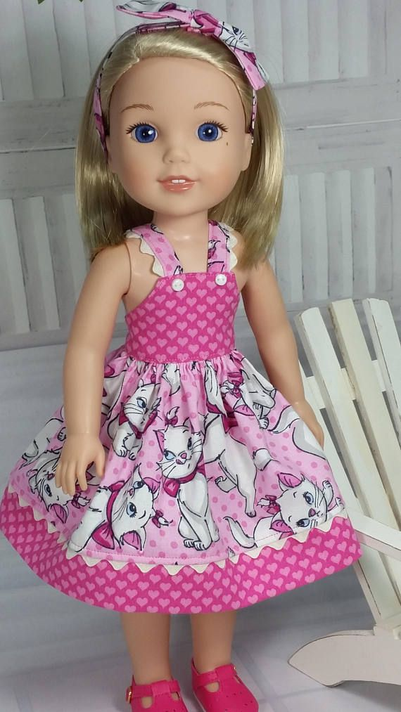 Wellie Wishers Kitty Cat Dress in Pink with Hairbow, American Made to Fit 14 Inch Girl Doll, Wellie Wisher Clothing