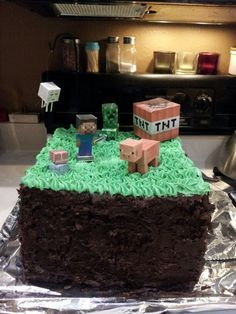 homemade minecraft cake - Google Search