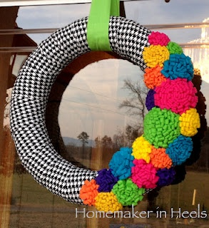 Fun, bright wreath  I wonder if the houndstooth fabric could be replaced by houndstooth duct tape.