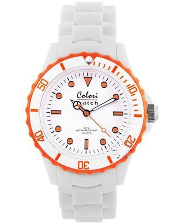 COLORI White Orange White Silicone Strap Τιμή: 36€ http://www.oroloi.gr/product_info.php?products_id=34899