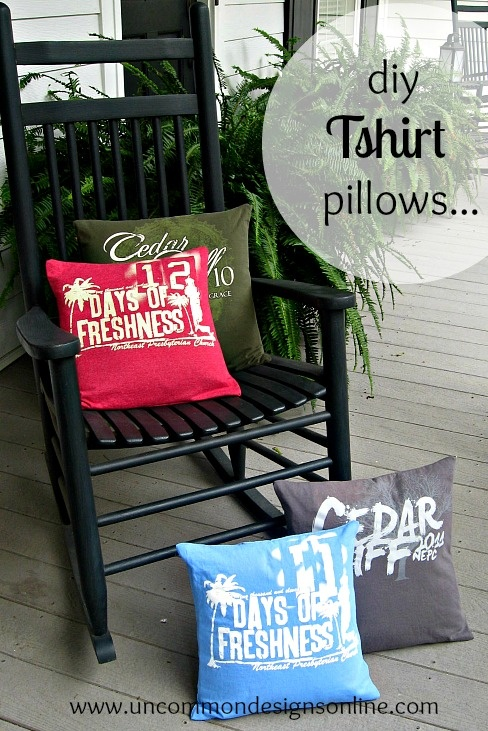 I need to do this with all of our cruise Tshirts we never wear.   Tshirt Pillow... { T Shirt Pillows } Super Cute and great conversation pieces! @Bonnie S. S. &  Trish { Uncommon Designs }