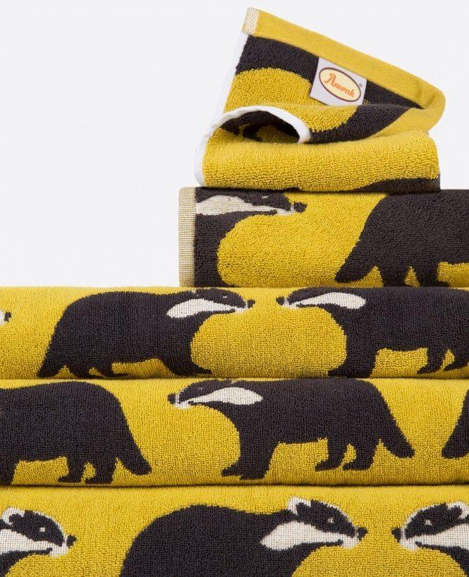 Anorak Kissing Badgers Bathroom Towels Yellow Bathroom