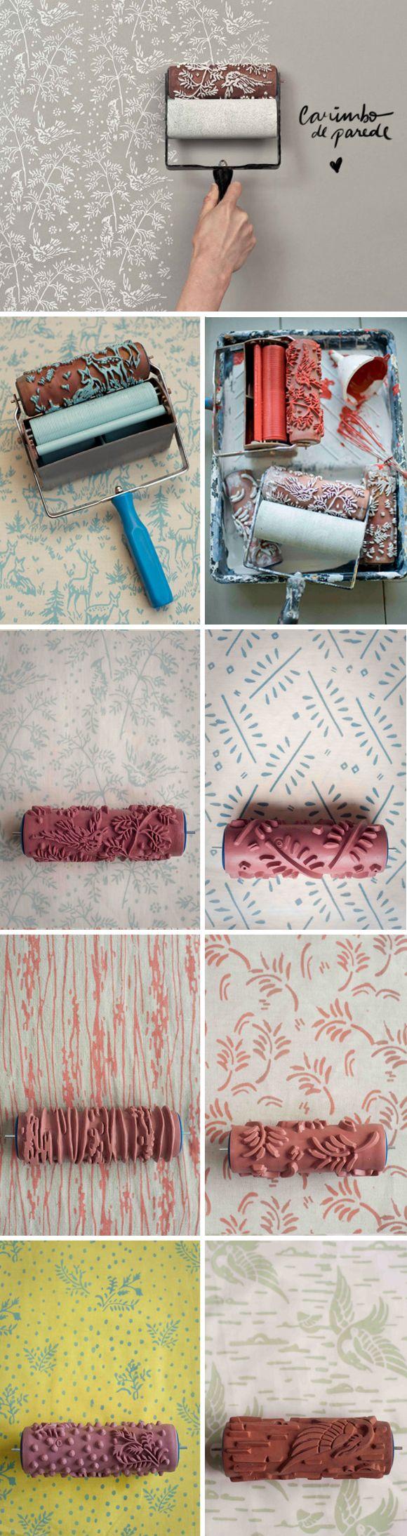 Achados da Bia | Decoração | Carimbo parede | Rolo tinta desenhos