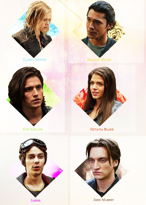 The 100 characters. Clarke Griffin, Bellamy Blake, Finn Collins, Octavia Blake, Jasper Jordan and John Murphy