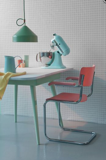 Work by editorial stylist Chrissie Cremers///  stephanie....red patio chair like mine......small table from a garage sale or thrift store...some turquoise pain=instant craft space in your turquoise and red kitchen!!!  : - )