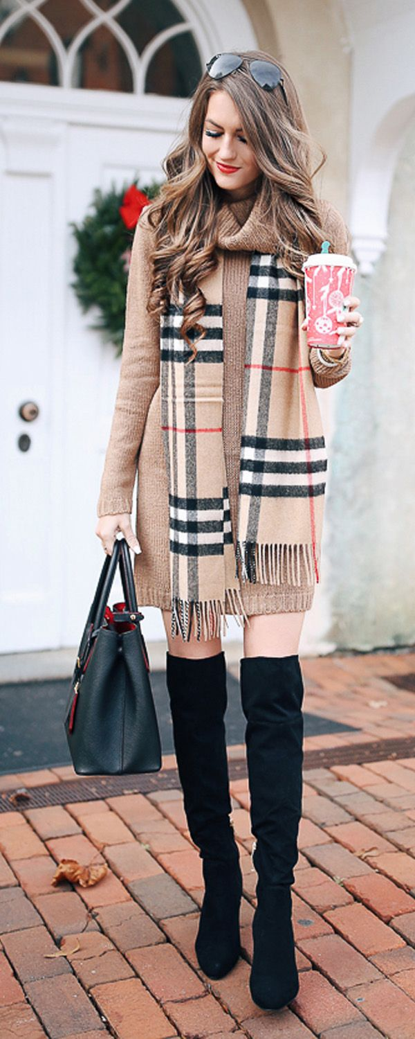 Camel dress and scarf and oak boots