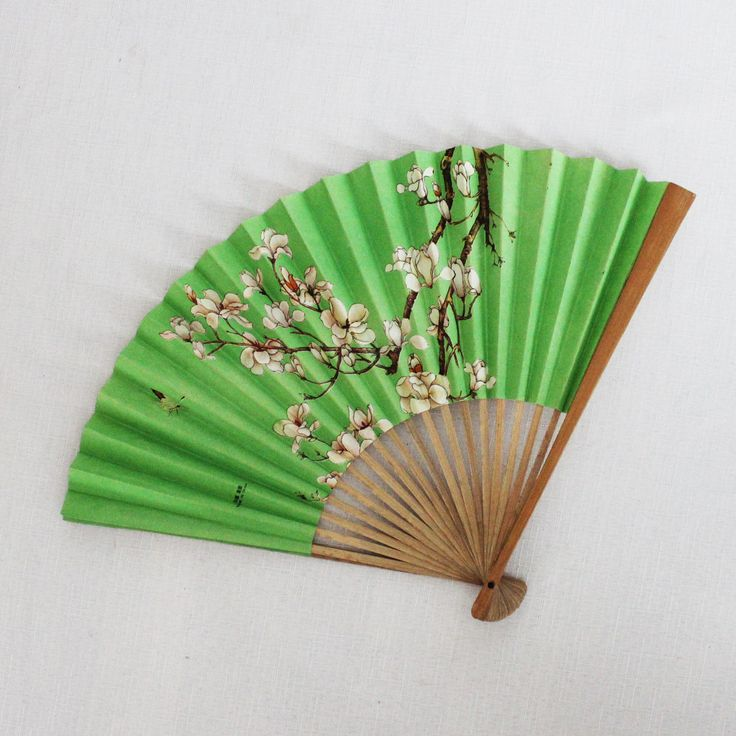 Chinese New Year gift Vintage small wooden fan Green paper fan Boho Hippie decor Women Costume accessories Lady fan Sakura Cherry blossom by VERAsPalm on Etsy https://www.etsy.com/uk/listing/588060619/chinese-new-year-gift-vintage-small