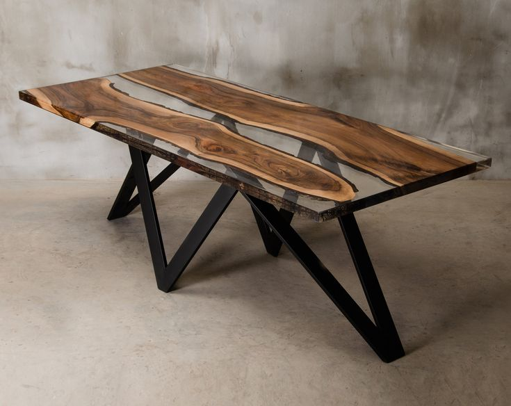 Custom epoxy resin table made of two walnut slabs, crystal transparent uv resin table, live egde table for modern living room, river table