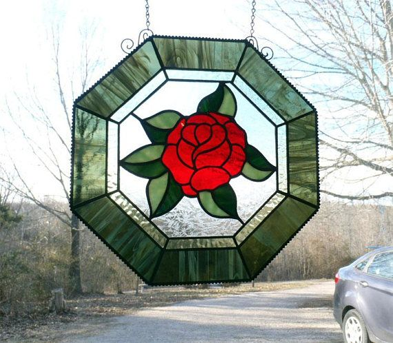 "Rose Garden Creations: ROSE OCTAGON Window Panel, 12"" Octagon RED Rose Stained"