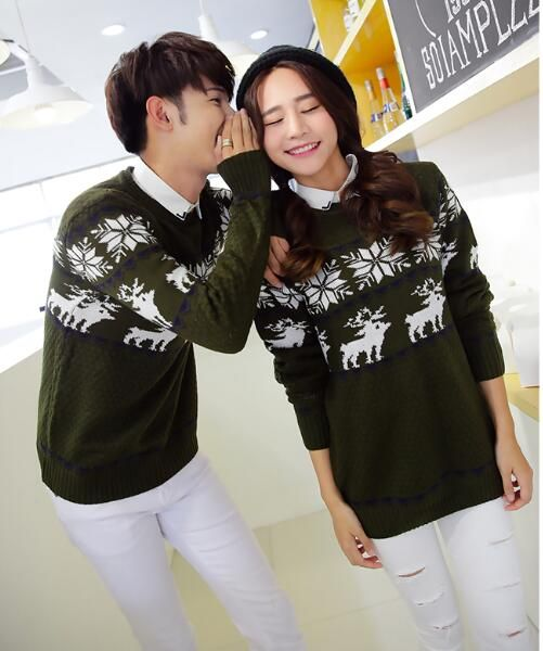 New-arriving Reindeer Snowflake Patterned Matching Christmas Sweaters for Couples Plus Size Lovers Pullovers S-XXL