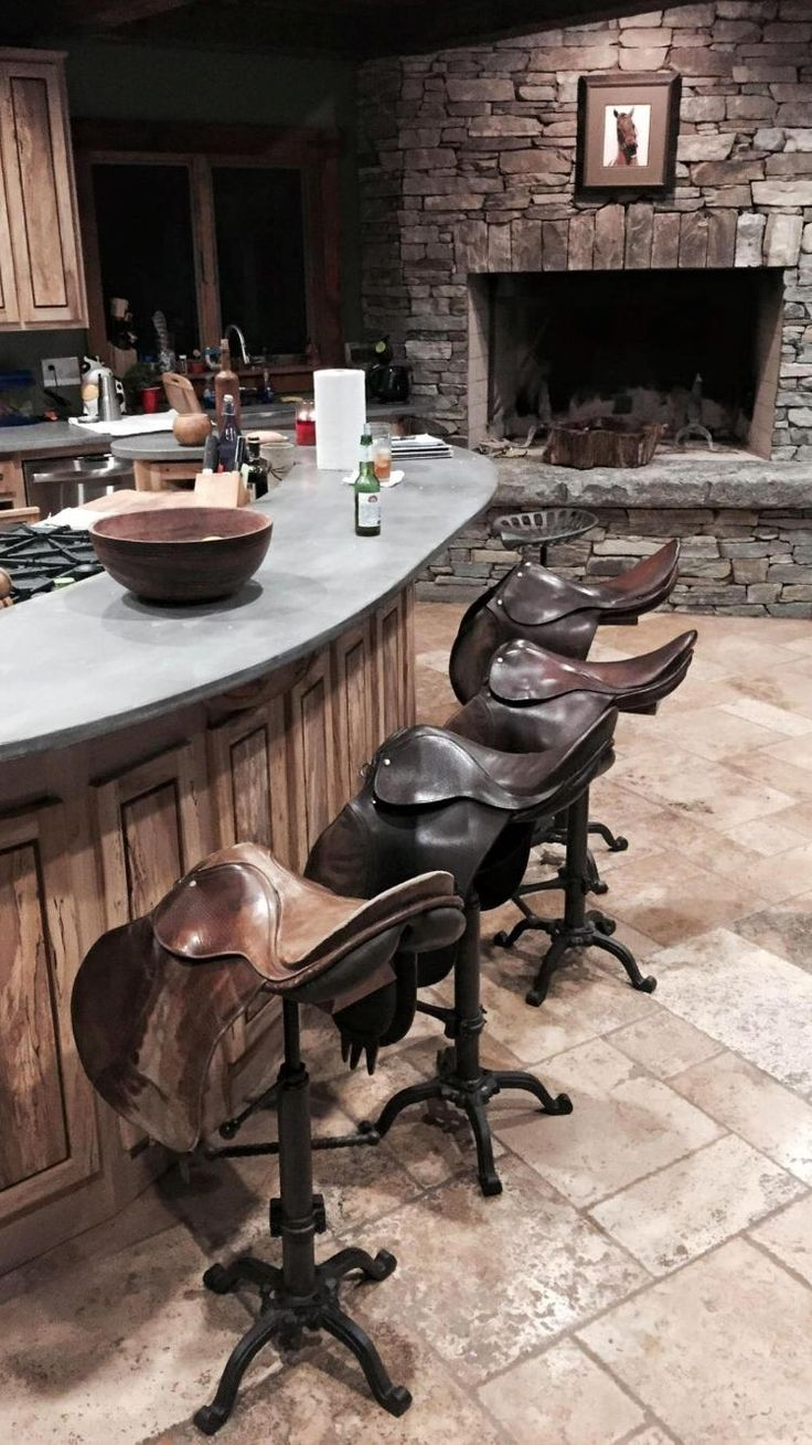Vintage used saddles for bar stools! StyleMyRide.net #equestrian, must have for our next big farm! More