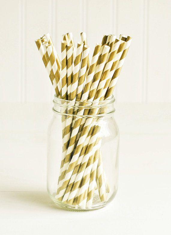 Paper Straws in Metallic Gold & White Stripes - Set of 25 - Sparkle Shimmer Pretty Wedding Birthday Party Shower Accessories Decor