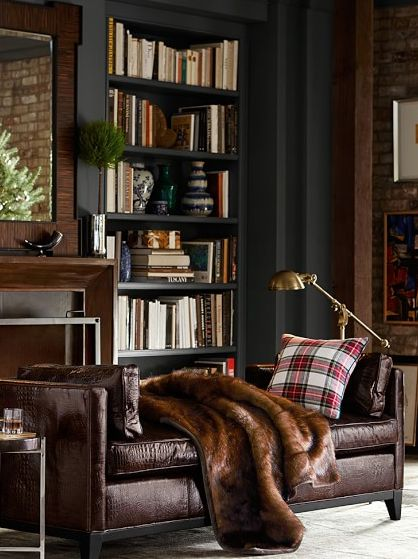 Love the color scheme, esp. The bold bookshelf color  brown faux fur throw http://rstyle.me/n/sc5bdr9te