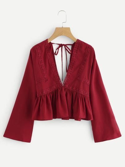 Plunging V-neckline Lace Trim Self Tie Frill Top -SheIn(Sheinside)