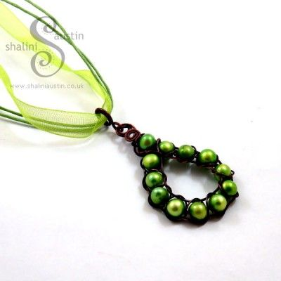 Freshwater Pearls Pendant - Green from Shalini Austin Designs, Handmade in Stamford UK