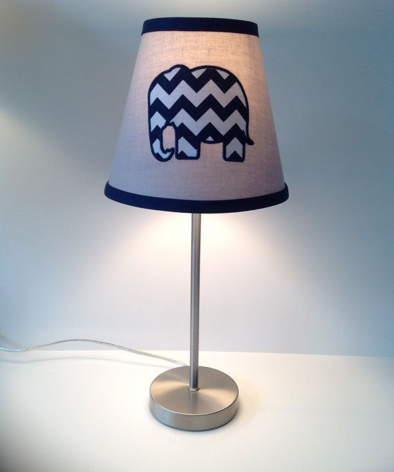 Applique Elephant Nursery Lamp Shade Gray Navy by LightningBugs, $52.00