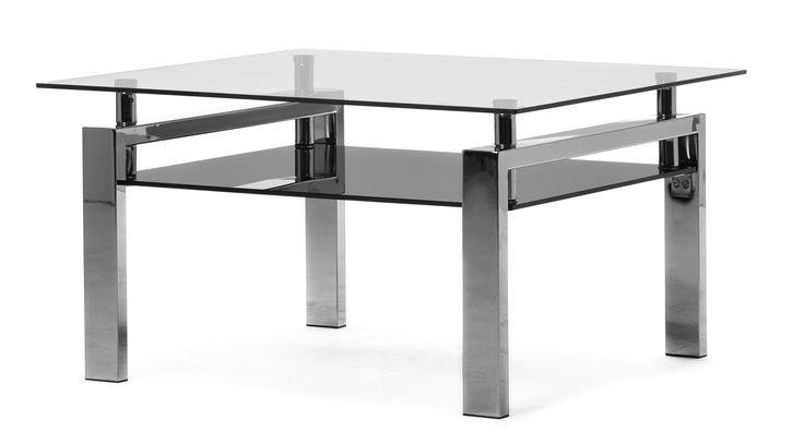 Ett modernt soffbord med underrede i metall,  glasskiva och nätta mått. Praktisk hylla för förvaring av tidningar, fjärrkontroller och andra saker du vill ha nära till hands.