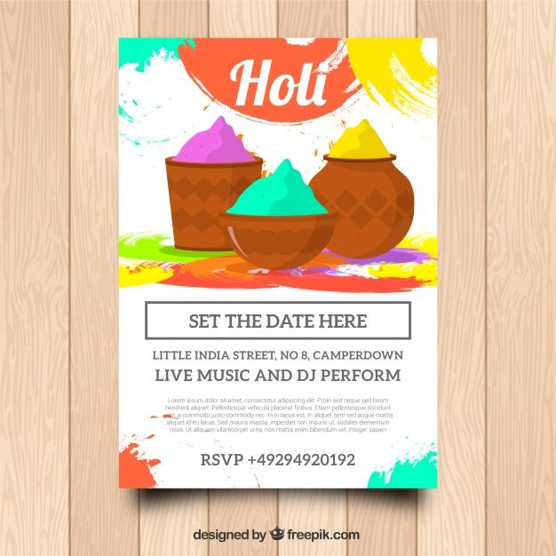 Holi festival party flyer in flat design Free Vector