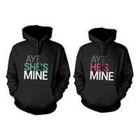 Wish | His and Her Matching Hoodies Aye She's Mine, Aye He's Mine Couples Hooded Sweatshirts WDD1688