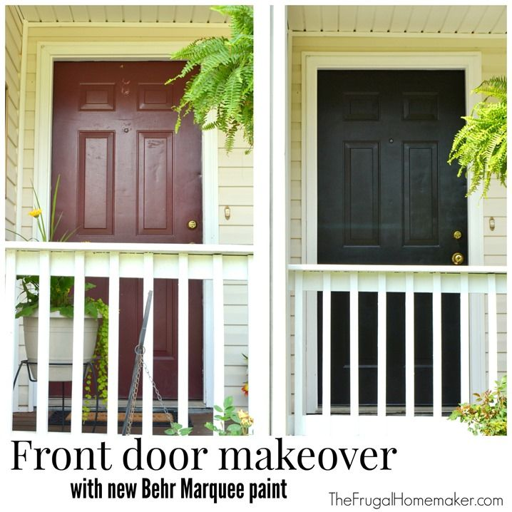 Front door makeover with new behr marquee paint black - Best spray paint for exterior shutters ...
