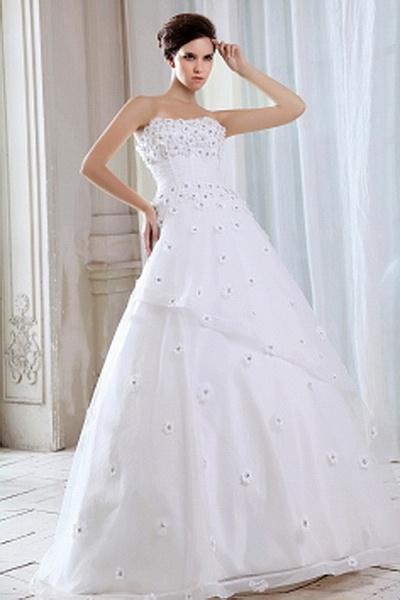 Strapless Ivory Organza Wedding Dress sfp0497 - http://www.shopforparty.com/strapless-ivory-organza-wedding-dress-sfp0497.html - COLOR: Ivory; SILHOUETTE: A-Line; NECKLINE: Strapless; EMBELLISHMENTS: Crystal; FABRIC: Organza - 196USD