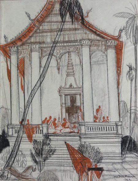 LAOS Bonzes assis sur la terrasse du temple - Galerie Saint Martin - Vente d'œuvres d'Art - Troyes