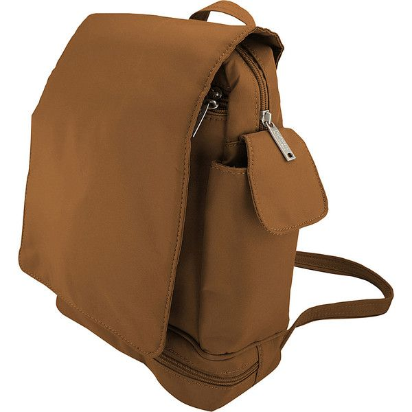 BeSafe Anti-Theft Convertible Backpack with Flap - Camel - Backpack... ($39) ❤ liked on Polyvore featuring bags, backpacks, brown, water bottle bag, anchor bag, camel backpack, chain strap backpack and brown backpack