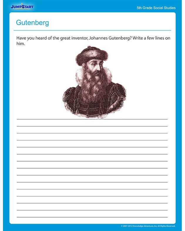 Gutenberg Social Studies worksheets – Social Studies Worksheets 5th Grade